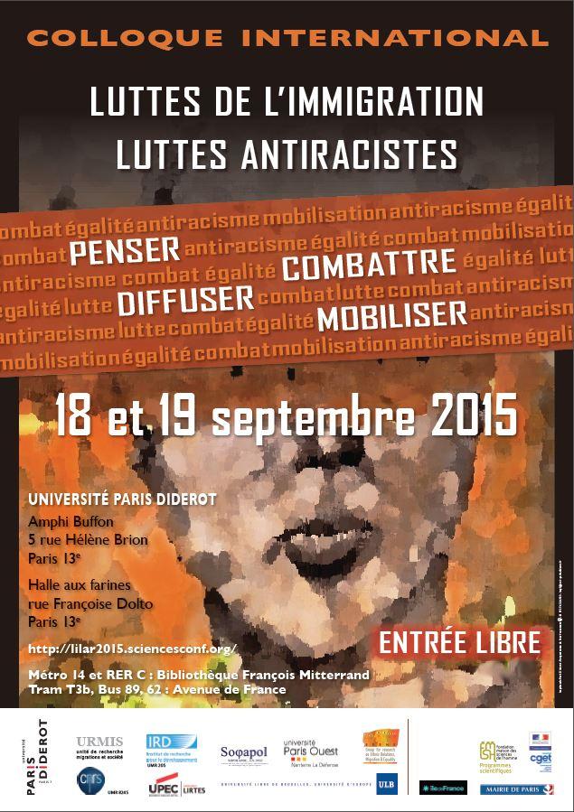 Affiche Colloque_Luttes immigrations Lutte antiracistes
